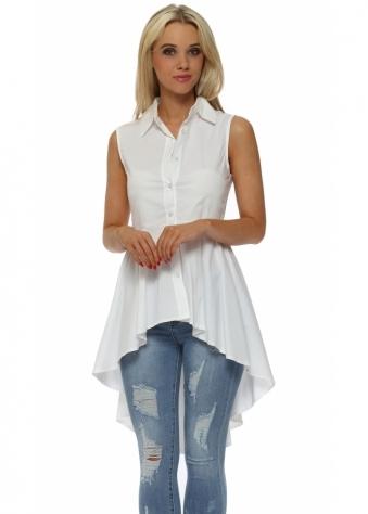 White Dip Hem Frill Sleeveless Shirt