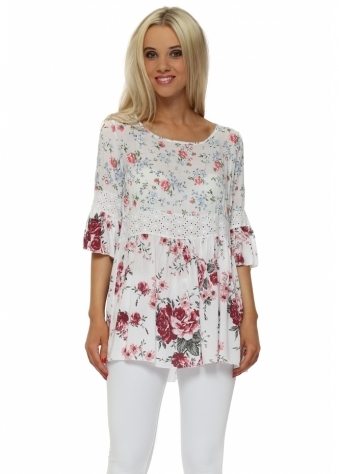 Double Floral Print Short Sleeve Tunic Top