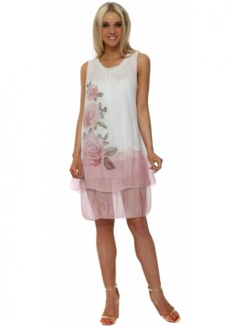 Pink Rose Print Tiered Silk Dress