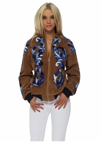 EXCLUSIVE Blue Bead & Embroidery Embellished Suede Jacket