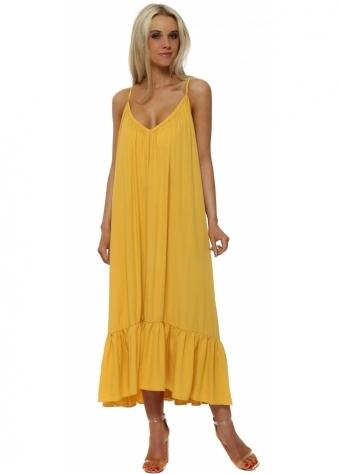Mustard Tie Open Back Boho Frill Maxi Dress