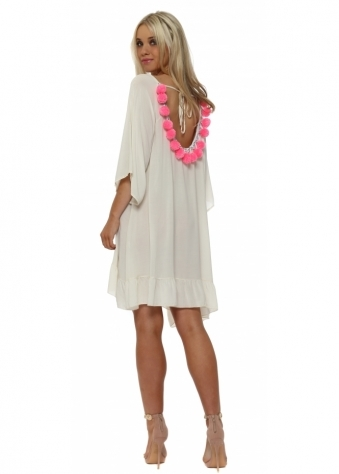Beige Loose Tunic With Pink Pom Poms