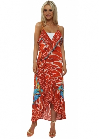 Orange Exotic Print Wrap Front Kaftan Dress