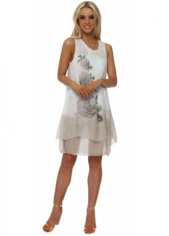 Beige Rose Print Tiered Silk Dress