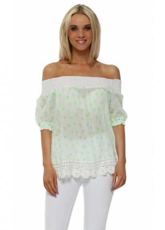Neon Lime Flamingo Bardot Top