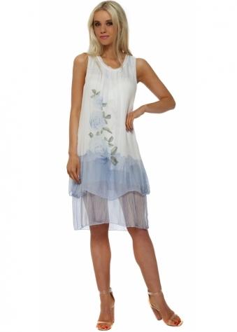 Blue Rose Print Tiered Silk Dress