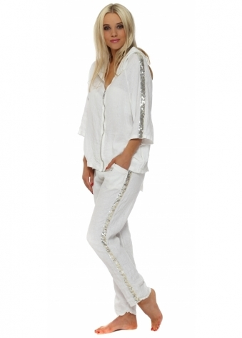 White Linen Sequinned Casual Trouser Suit