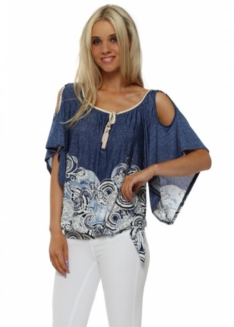 Blue Santorini Cold Shoulder Top