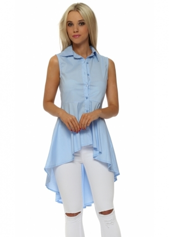 Blue Dip Hem Frill Sleeveless Shirt