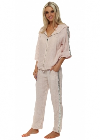 Pink Linen Sequinned Casual Trouser Suit