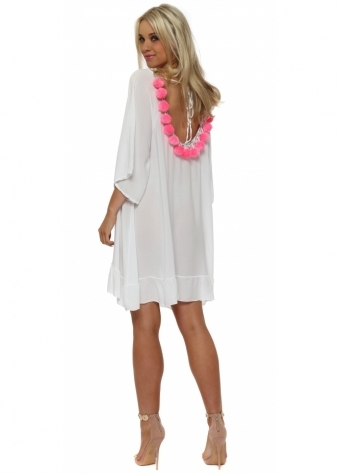 White Loose Tunic With Pink Pom Poms