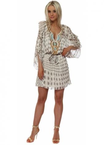Mocha Printed Cold Shoulder Chiffon Dress