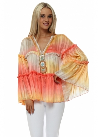 Coral Sunset Chiffon Beaded Top