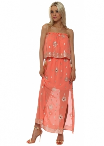 Coral Gold Sequinned Chiffon Maxi Dress