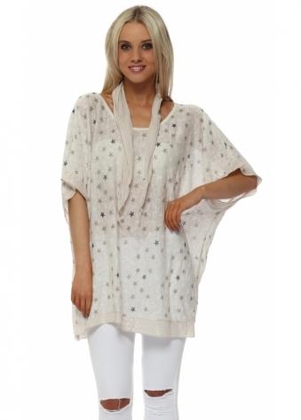 Beige Star Slub Knit Sequinned Top & Scarf