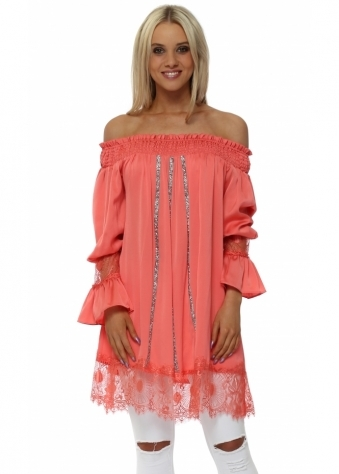 Coral Crystal Off The Shoulder Tunic Top