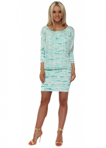 Turquoise Tie Dye Bandeau Hem Mini Dress