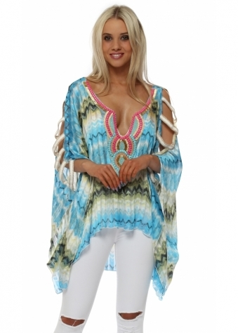 Blue Zig Zag Beaded Ladder Sleeve Kaftan Top