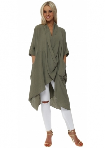 Khaki Cotton Crossover Draped Oversized Top