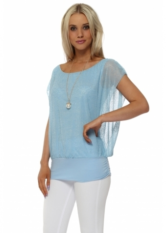 Baby Blue Sleeveless Bandeau Hem Necklace Top