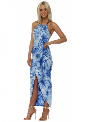 Blue Tie Dye Tie Wrap Dress