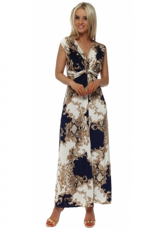 Navy & Gold Vintage Print Maxi Dress