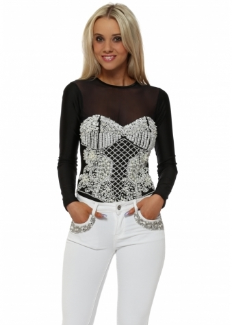 EXCLUSIVE Pearl Embellished Black Bodysuit