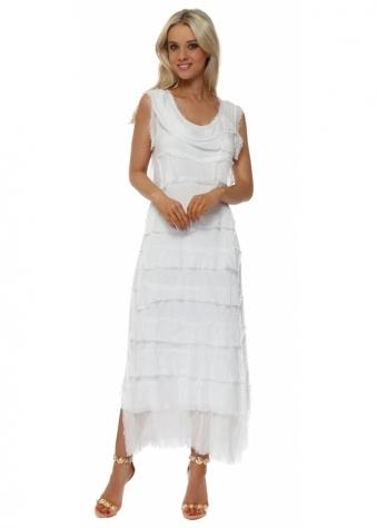 White Frayed Silk Layered Maxi Dress