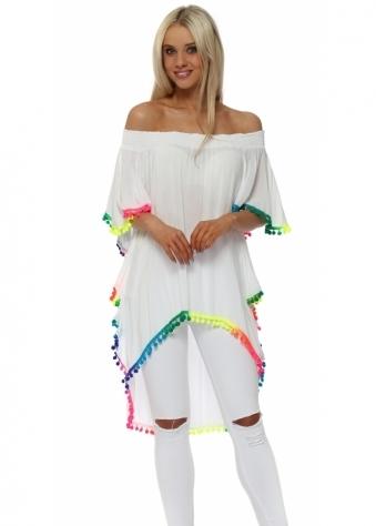 White Off The Shoulder Rainbow Pom Pom Top
