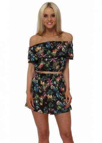 Black Floral Off The Shoulder Short Set