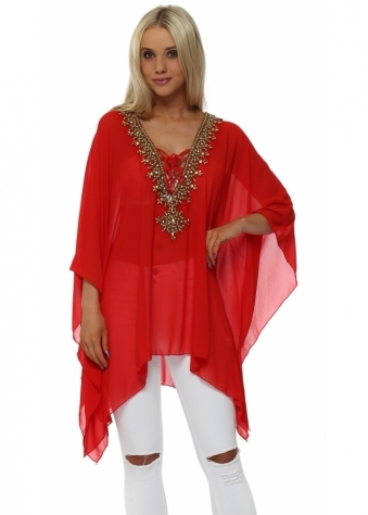 Red Gold Beaded Diamante Kaftan Top