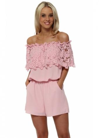 Pink Crochet Bardot Playsuit