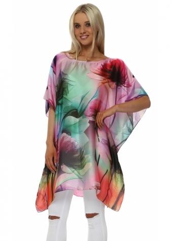 Floral Print Pink & Multi Silk Kaftan Top