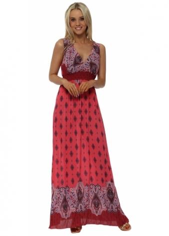 Pink Paisley Print Cross Over Maxi Dress