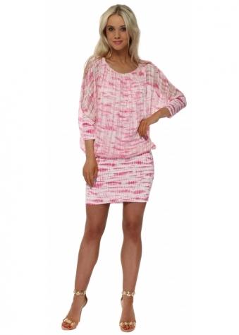 Fucshia Tie Dye Bandeau Hem Mini Dress