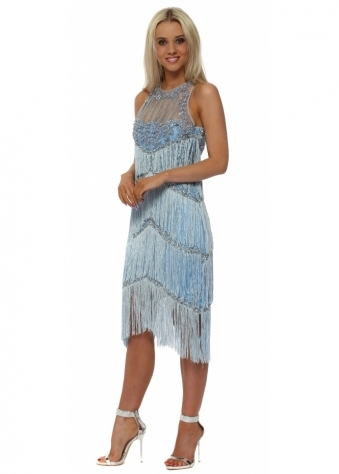 EXCLUSIVE Blue Tassel Midi Dress With Pearl Neckline