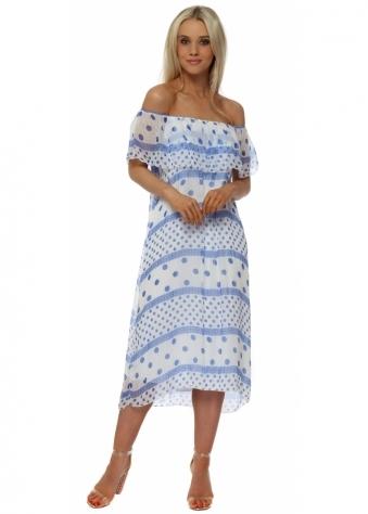 White & Blue Spot Silk Bardot Dress