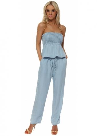 Soft Light Blue Denim Shirred Bodice Jumpsuit