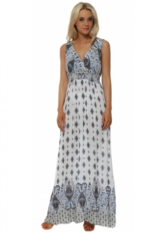 Blue Paisley Print Cross Over Maxi Dress