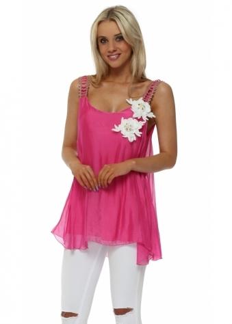 Hot Pink Silk Flower Gold Embellished Vest Top