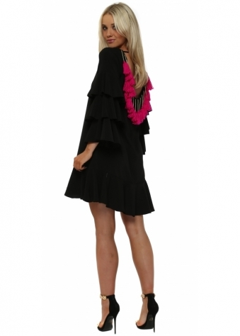 Black Ruffle Tassle Backless Midi Dress