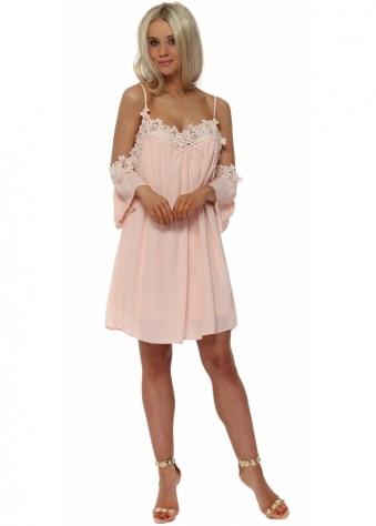 Nude Crochet Trim Cold Shoulder Swing Dress