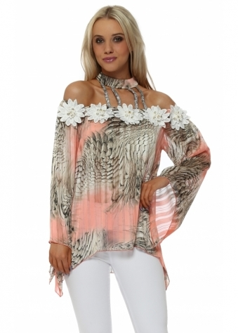 Coral Snake Print Choker Cold Shoulder Top