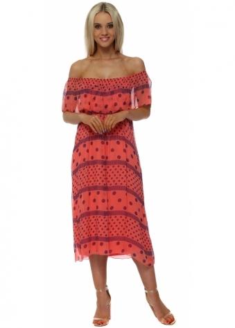 Coral & Blue Spot Silk Bardot Dress