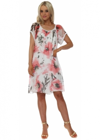 Pretty Floral Print Coral & White Silk Tunic Dress