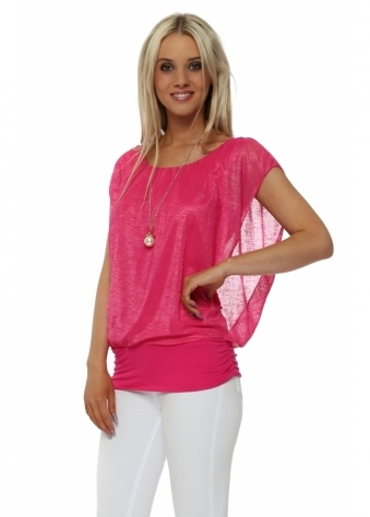 Fuchsia Sleeveless Bandeau Hem Necklace Top