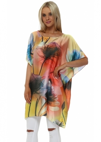 Floral Print Yellow & Multi Silk Kaftan Top