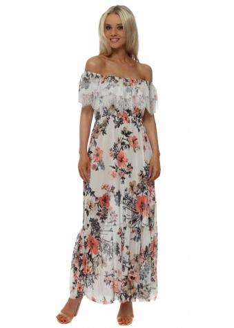 Floral & Lace Bardot Cream Maxi Dress