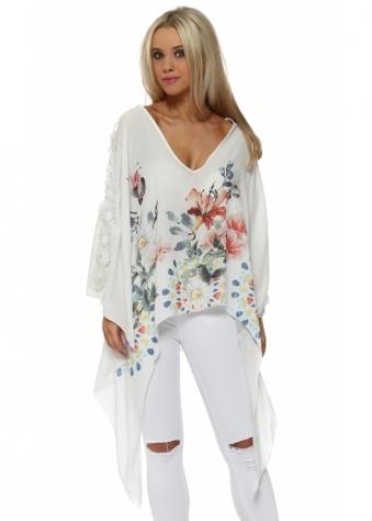 White Silk Flower Pearl & Diamonte Applique Tie Top