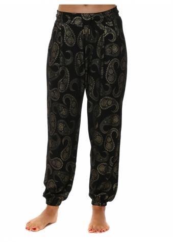 Patti Black Gold Paisley Print Jogger Pants